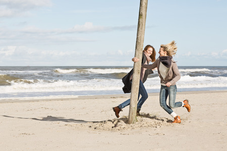 pursued: Women playing on beach