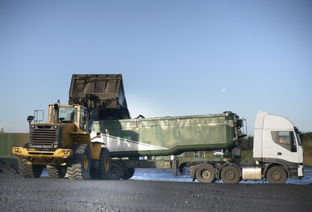 industrialization: Coal loaded onto truck at surface mine