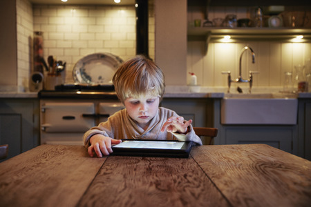 Boy using tablet computer at table