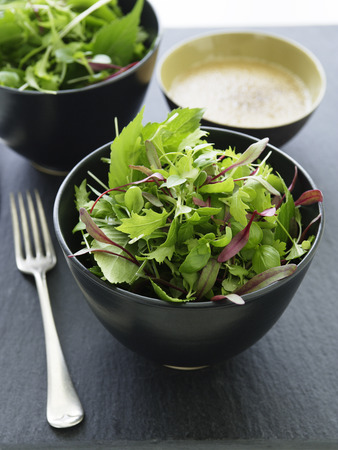 nourishing: Bowl of mixed greens salad
