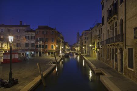 Ciudad, luces, reflejado, urbano, canal