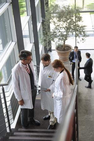 ceased: Doctors talking on staircase in office