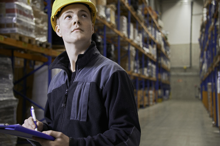 Worker checking stock in warehouse LANG_EVOIMAGES