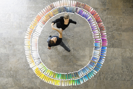 large group of business people: Business people in paint swatches LANG_EVOIMAGES