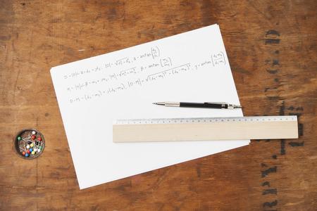 formulae: Ruler and pen on paper