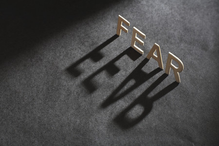 shadowed: Letters spelling 'fear casting shadow LANG_EVOIMAGES