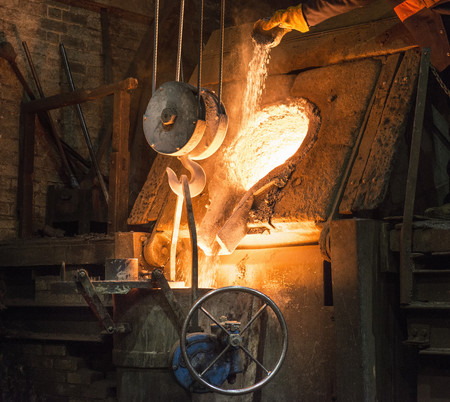 Molten metal pouring in foundry
