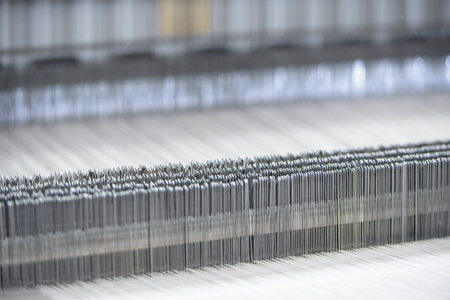 Close up of loom in textile mill