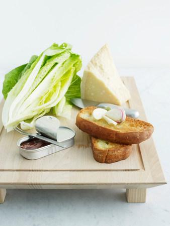 Cos lettuce,parmesan,bread,garlic and anchovies