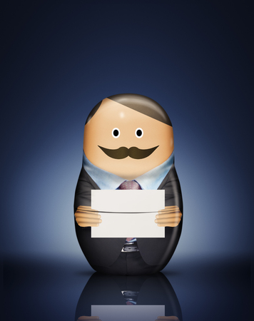 digitally generated image: Businessman Russian doll with envelope LANG_EVOIMAGES