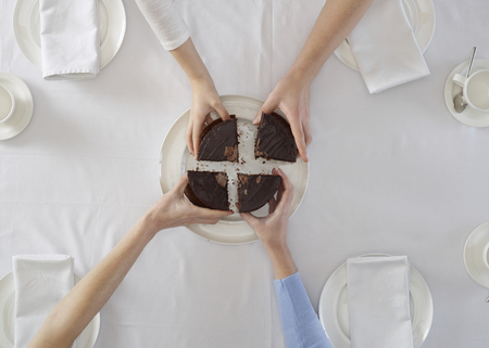 requiring: Overhead view of people sharing dessert