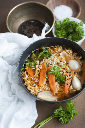 Bowl of vegetable noodle soup
