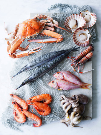 cropped shot: Selection of fresh seafood