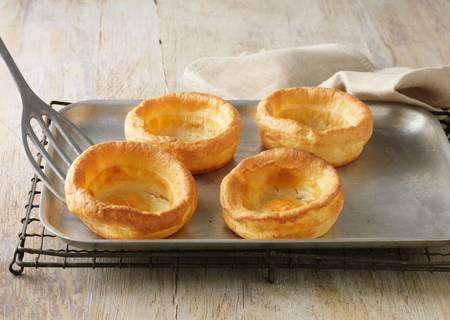 flavouring: Beef dripping Yorkshire puddings on metal baking sheet