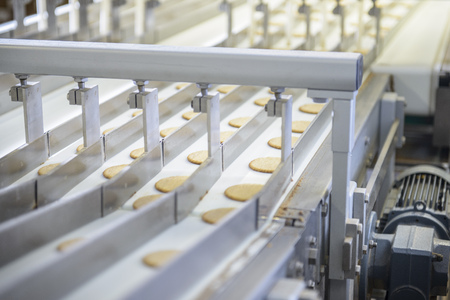 preparedness: Biscuits on production line in factory