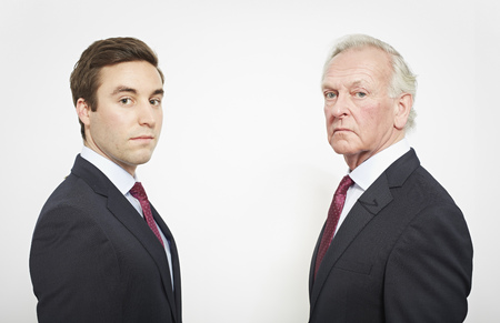 equivalents: Businessmen facing each other