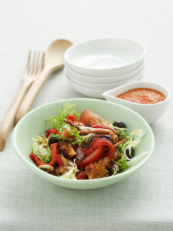 midday: Barbecued squid salad