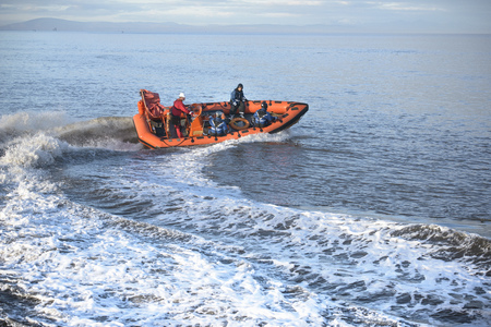 taught man: Rescue boat training in open water