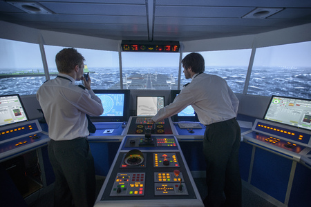 power operated: Personnel working on ships bridge