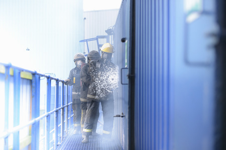 taught man: Firefighters in simulation training
