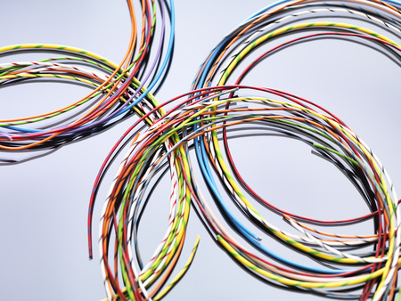 Colorful cables used in electrical and computer communications