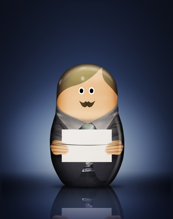 communicated: Businessman Russian doll with envelope LANG_EVOIMAGES