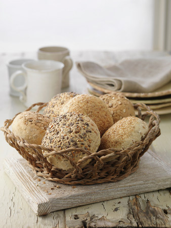Selection of bread rolls,mixed seed and whole grain. Oats,poppy seeds,pumpkin seeds