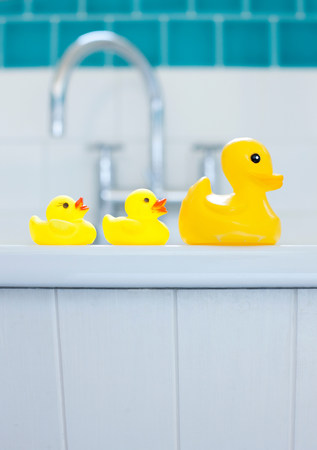 bathtime: Row of three yellow rubber ducks for bathtime LANG_EVOIMAGES