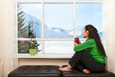 parlours: Woman sitting on window seat looking at view