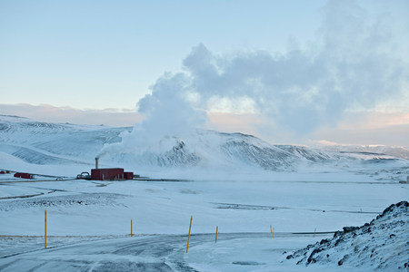 heavy snow: Geothermal power plant,Krafla,Myvatn,Iceland