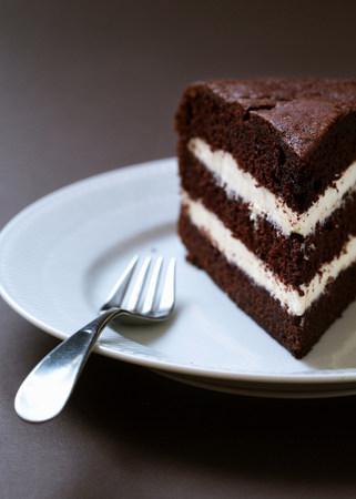 close up food: Homemade layered chocolate cake