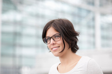 pleasurable: Portrait of young female wearing spectacles