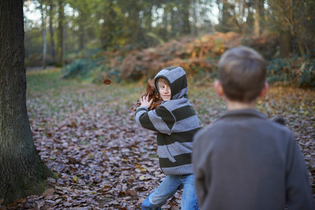 informal clothing: Boy throwing leaves at friend LANG_EVOIMAGES