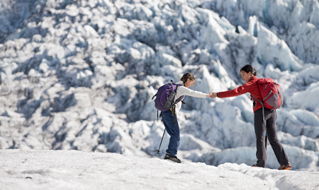intersects: Mother and daughter walking on glacier