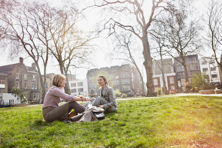 Two businesswomen sitting on grass in park