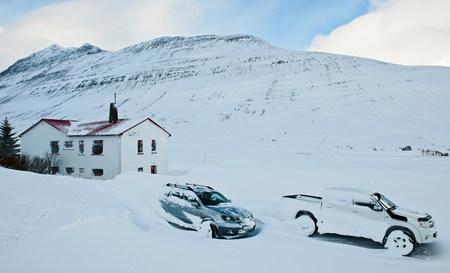 Cars covered in snow,Klaengsholl,Skidadalur,Dalvik,Iceland