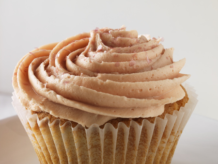 Close up of frosted cupcake