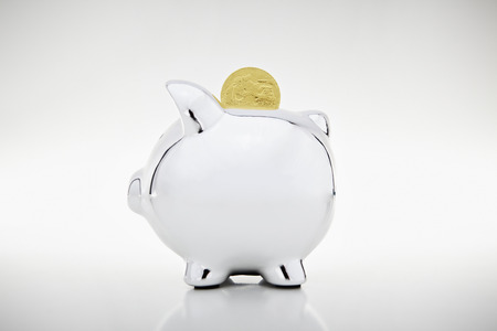 Gold coin dropping into piggy bank LANG_EVOIMAGES