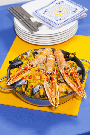 cooking implement: Pan of craw fish paella