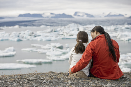 Mother and daughter admiring glaciers