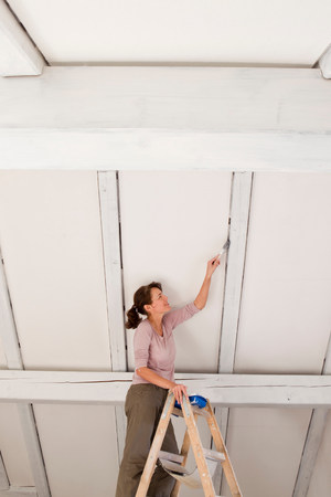 attics: Woman on stepladders painting white ceiling