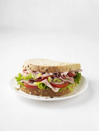 carnes y verduras: Sándwich de jamón y tomate en un plato LANG_EVOIMAGES