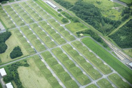 berm: Aerial view of rural fields