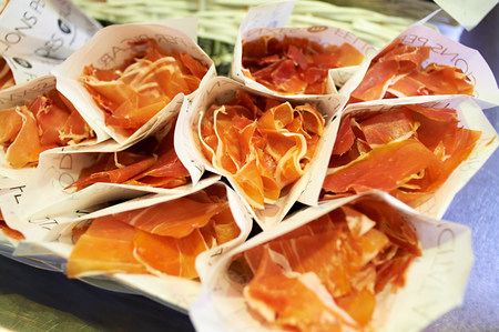 Wrapped cured ham slices for sale in Boqueria Market,Barcelona,Spain