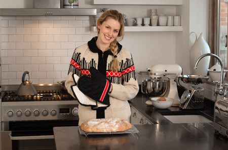 sweatshirts: Woman with freshly baked bread