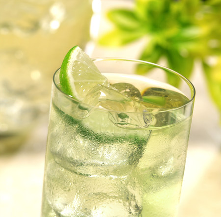 low temperature: Glass of ice cold lime juice
