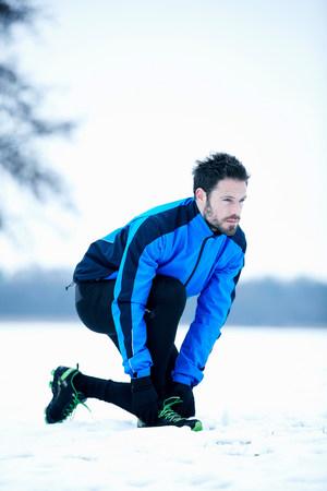 Man preparing for snow run