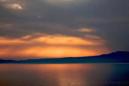 Dramatic sunset Stoupa,the Mani region in Greece