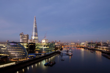 Shard and City Hall buildings,River Thames,London,UK