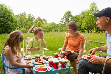 Family with two children enjoying birthday picnic